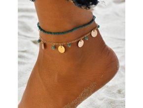 Náramek na nohu 2v1 zlatý s tyrkysovými korálky