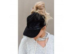 Dámská letní čepice černá semišová