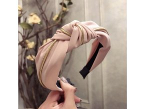Dámská čelenka růžová se zlatým páskem