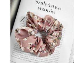 Vlasová gumka růžová s květy