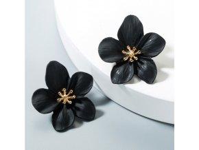 Náušnice černé květy