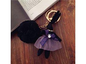Přívěsek na klíče králíček a květina