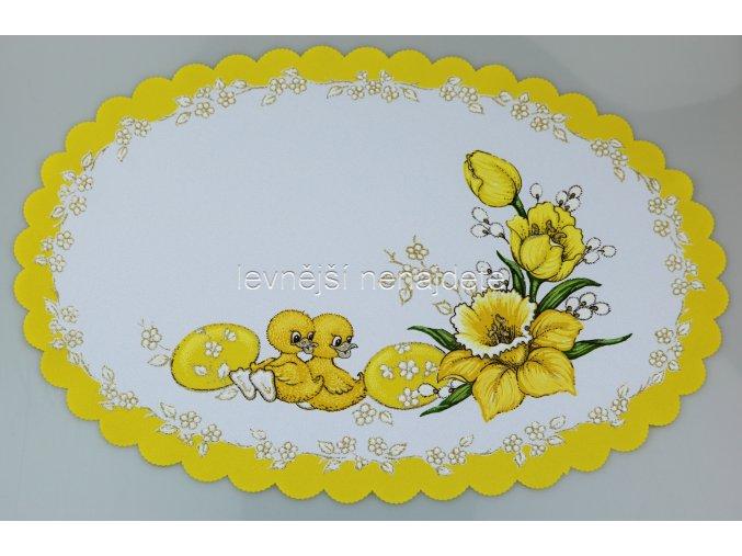 Velikonoční ubrus žlutý kuřátka ovál 32 x 48 cm