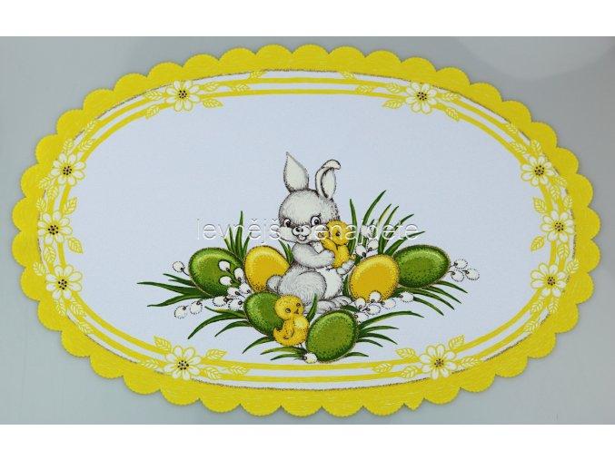 Velikonoční ubrus žlutý zajíček ovál 32 x 48 cm