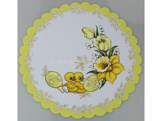 Velikonoční ubrus žlutý kuřátka kulatý 35 cm