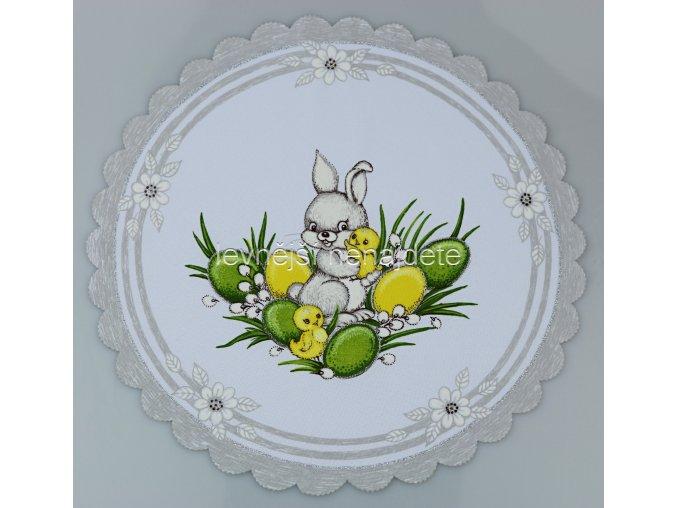 Velikonoční ubrus stříbrný zajíček kulatý 35 cm