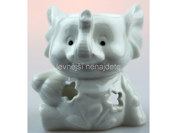 Keramická aroma lampa slon bílý