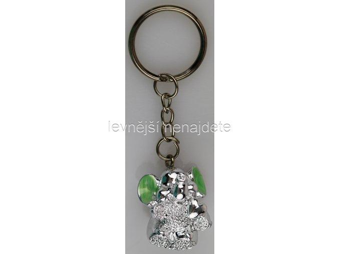 Přívěsek na klíček slon zelený