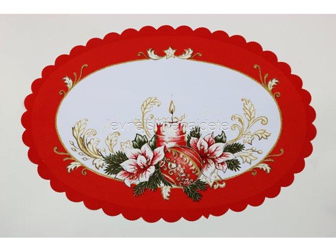 Vánoční ubrus červený ovál vz.2 31 x 46 cm