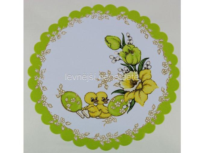Velikonoční ubrus zelený vz.2 kulatý 35 cm