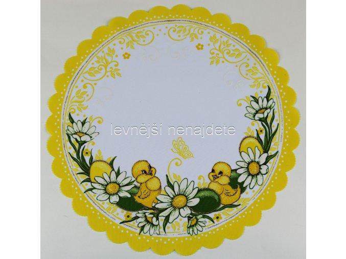 Velikonoční ubrus žlutý vz.2 kulatý 35 cm