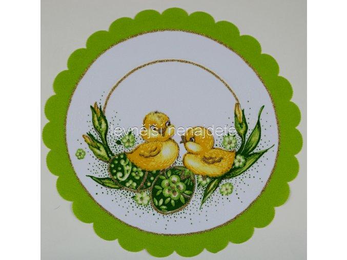 Velikonoční ubrus zelený kulatý 24 cm