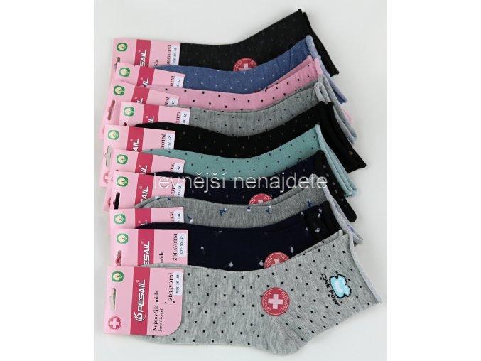 Dámské bavlněné zdravotní ponožky punt 3 páry