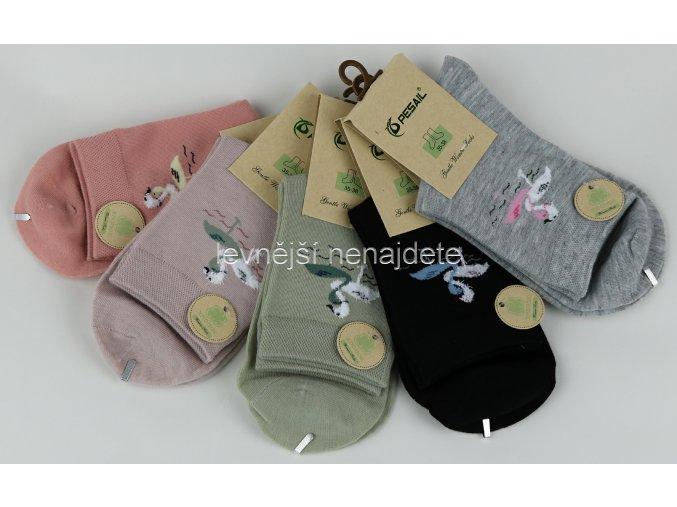 Dámské ponožky barevné plameňák