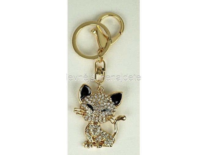 Přívěsek na klíček kočka zlatá