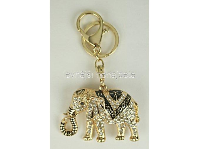 Přívěsek na klíček sloník zlatý