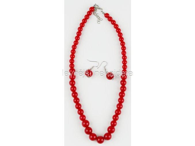 Souprava červené perličky a náušnice
