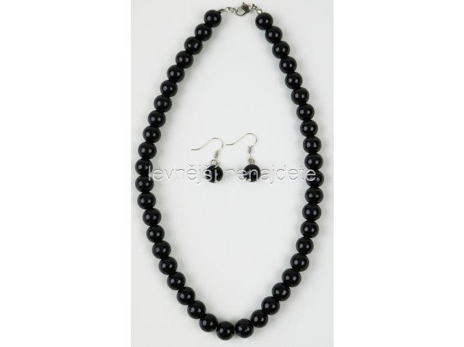 Souprava černé perličky a náušnice