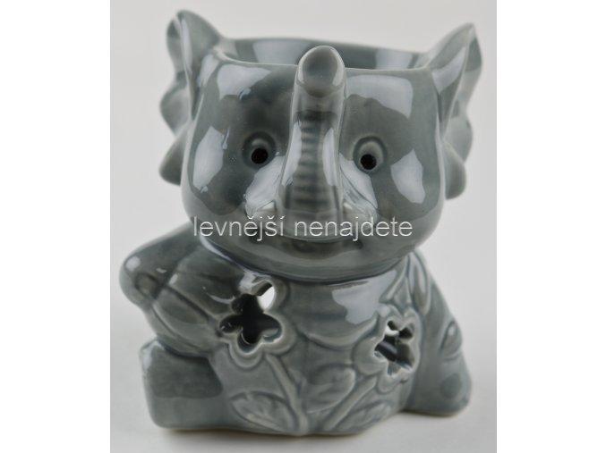Keramická aroma lampa slon šedý