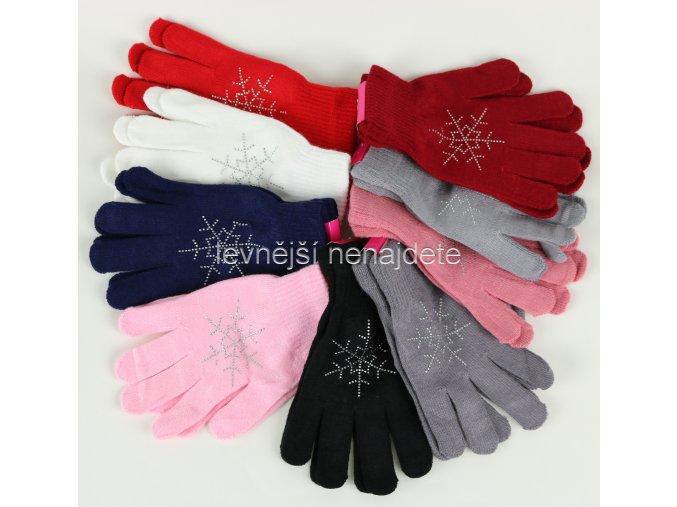 Dámské pletené rukavice barevné s vločkou