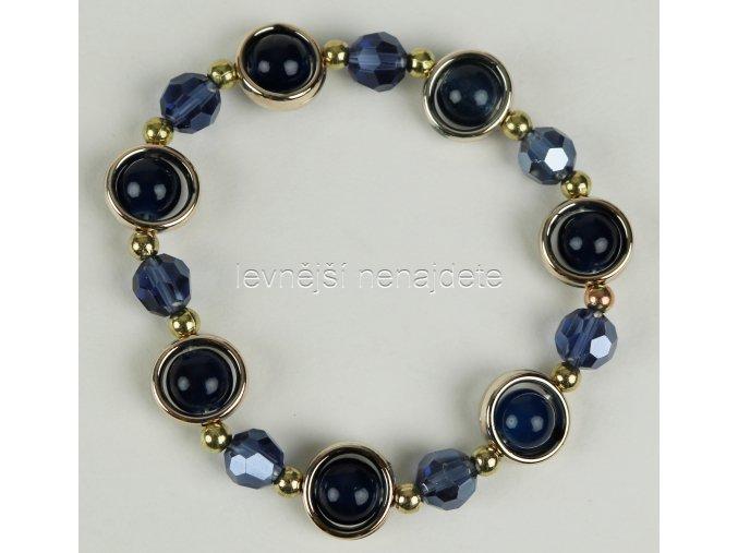 Náramek pružný zlato tm. modrý