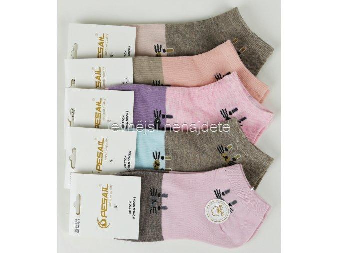 Dámské bavlněné kotníkové ponožky I611W 3 páry
