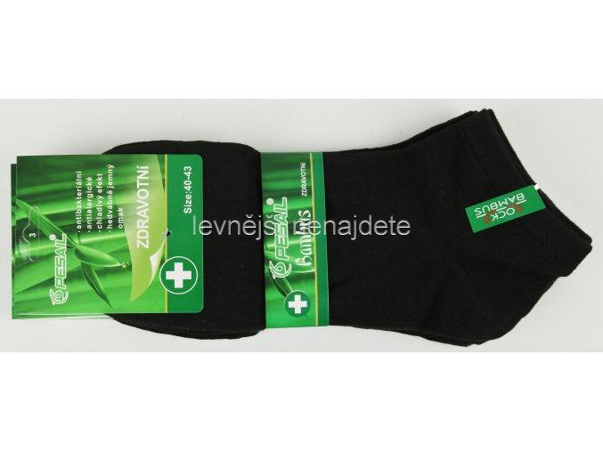 Pánské zdravotní bambusové kotníkové ponožky černé 3 páry