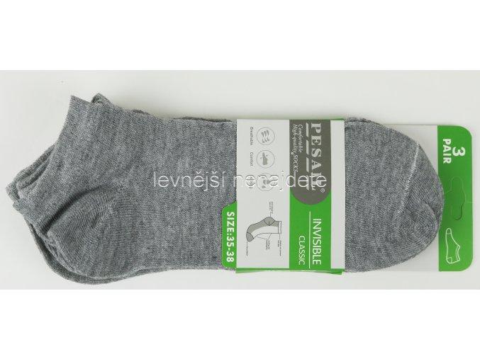 Dámské kotníkové bavlněné ponožky šedé 3 páry