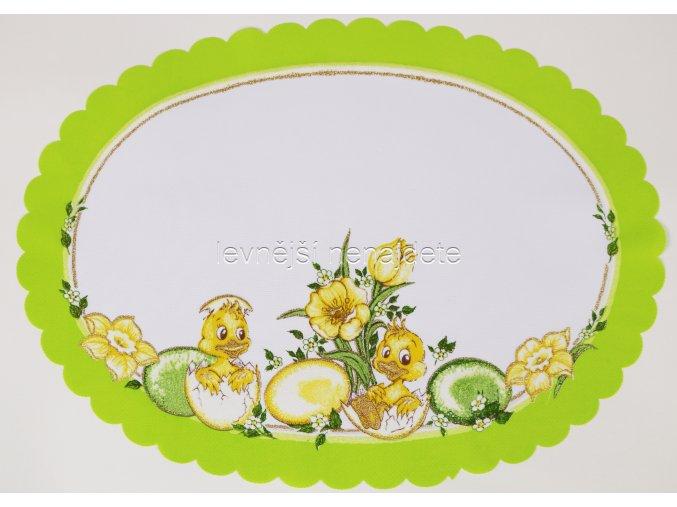 Velikonoční ubrus zelený vajíčka ovál 35 x 47 cm