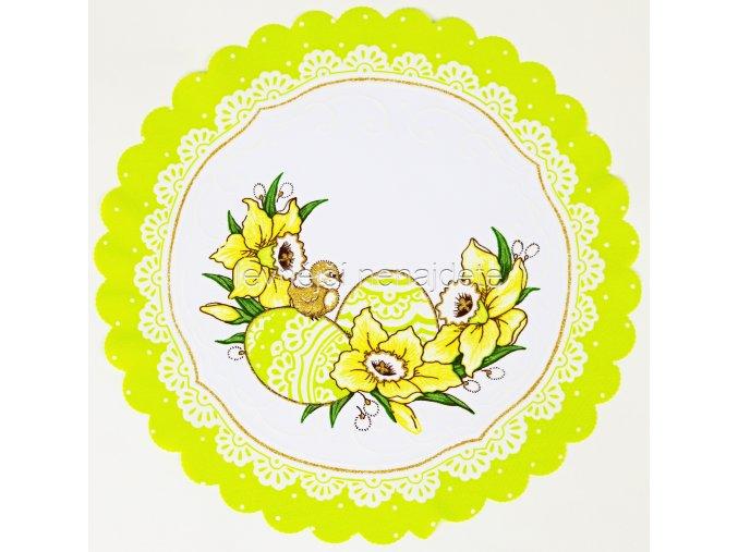 Velikonoční ubrus zelený kulatý vajíčka 34 cm