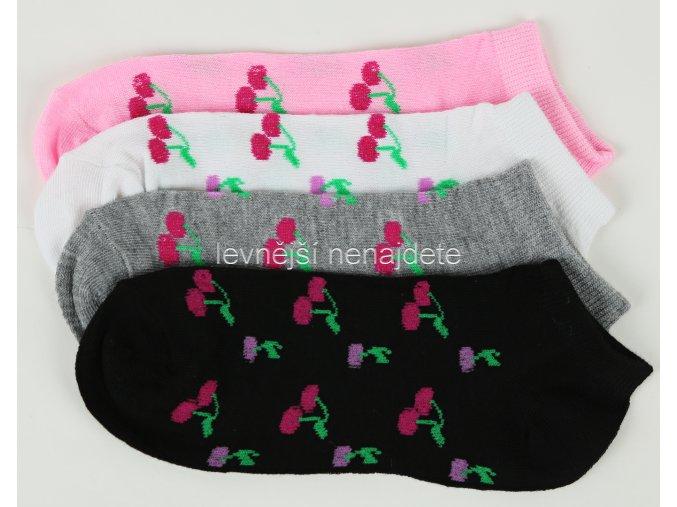 Dámské kotníkové bavlněné ponožky třešně 3 páry