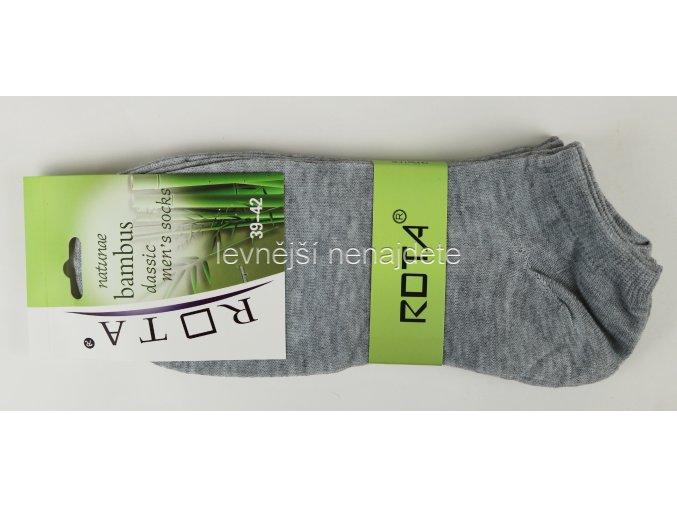 Pánské bambusové kotníkové ponožky šedé 3 páry