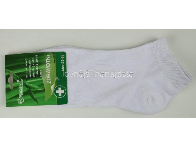 Pánské zdravotní bambusové kotníkové ponožky bílé 3 páry