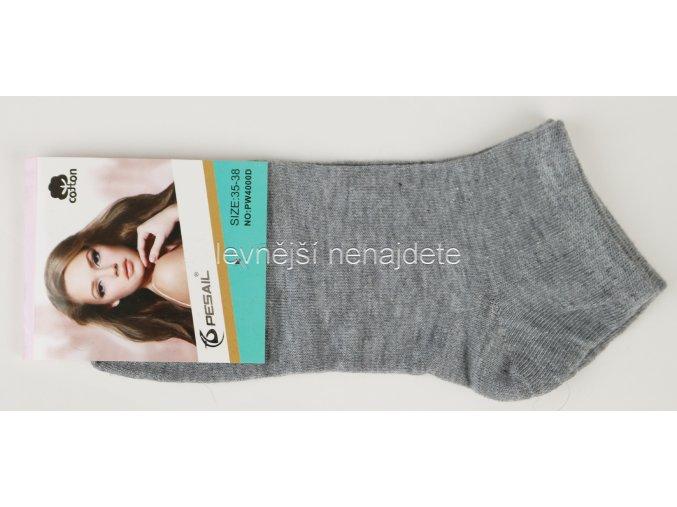 Dámské bavlněné kotníkové ponožky šedé