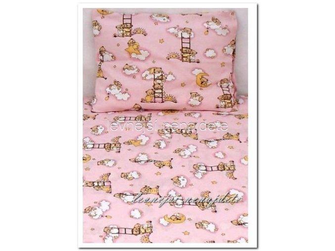 Bavlněné povlečení do postýlky Medvídek žebřík růžové  90x135 45x65