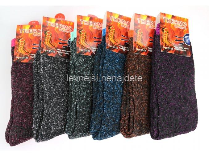 Dámské bavlněné termo ponožky barevné