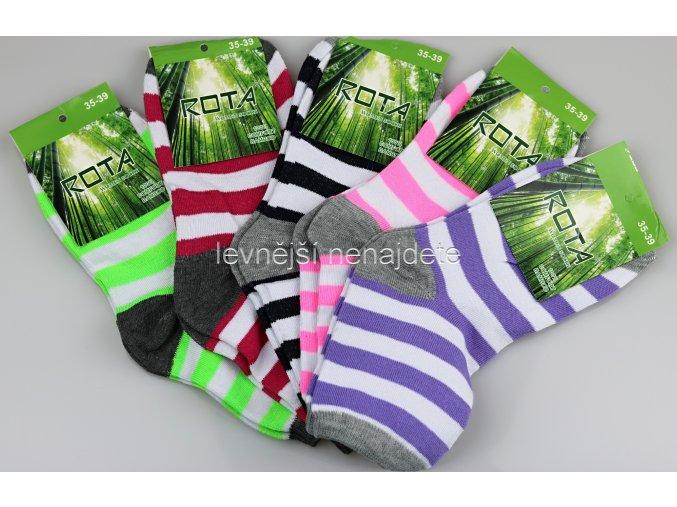 Dámské bambusové ponožky proužek bar 5 kusů