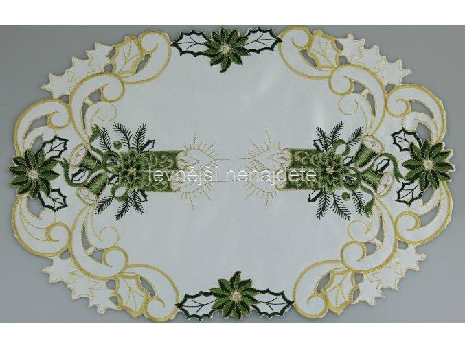 Vánoční vyšívaný ubrus zelený ovál 30 x 45 cm