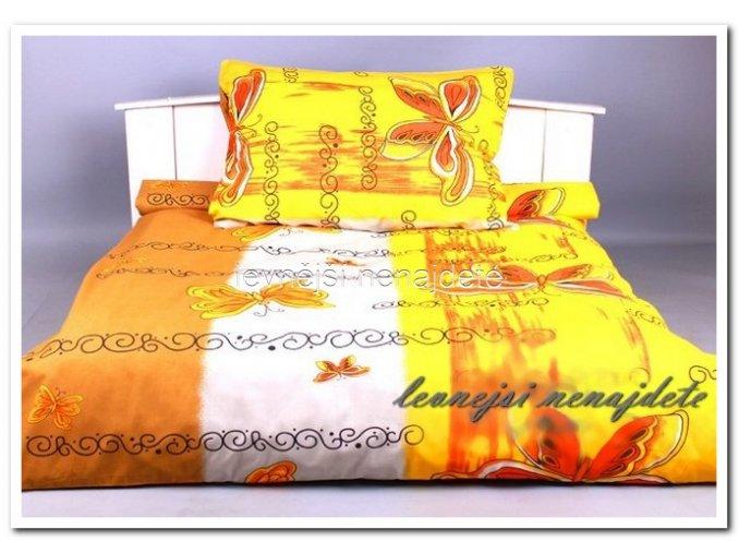 Bavlněné povlečení na 2 postele MOTÝL ŽLUTÝ 2 x 140 x 200 2x 70 x 90