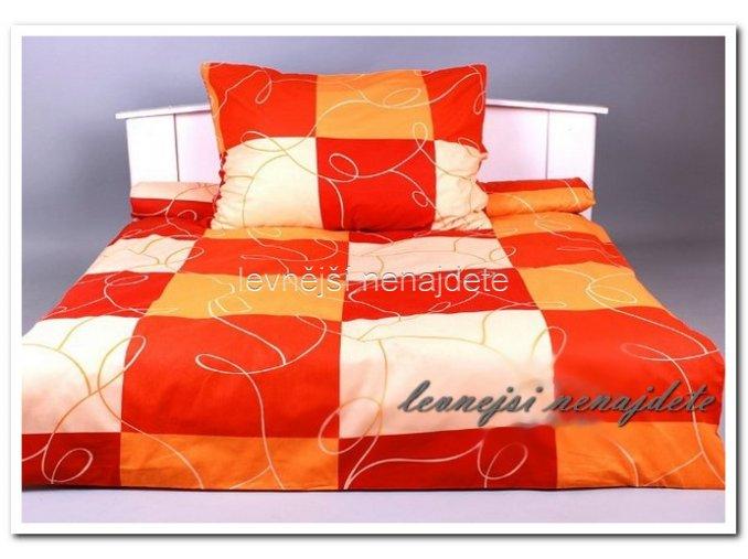 Bavlněné povlečení na 2 postele ČÁRY ORANŽOVÉ 2 x 140 x 200 2x 70 x 90