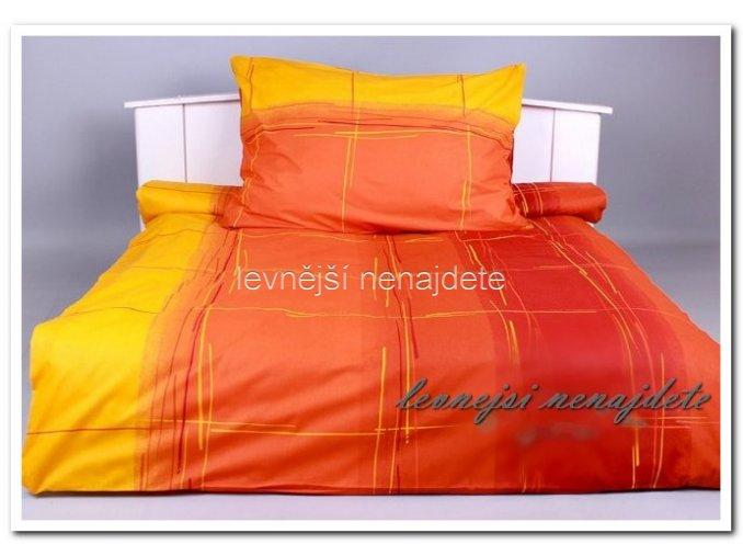 Bavlněné povlečení na 2 postele CÁKANCE ORANŽ-ŽLUTÉ 2 x 140 x 200 2x 70 x 90