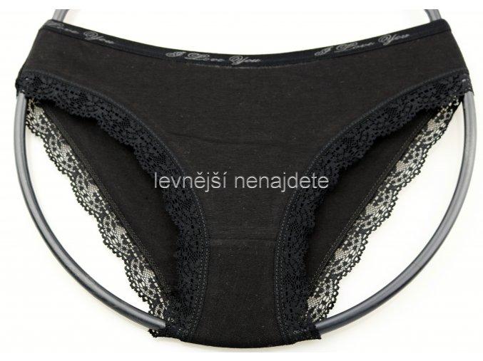 Bavlněné kalhotky s kraječkou černé