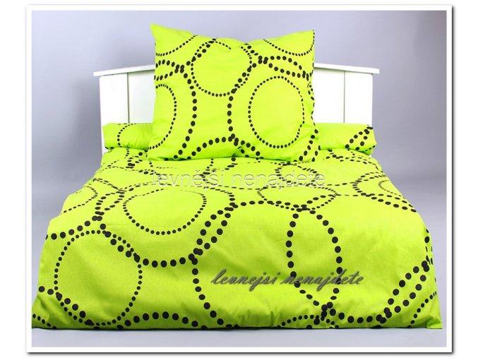 Bavlněné povlečení 2 kusy - Kružnice zelená 2 x 140 x 200 2 x 70 x 90