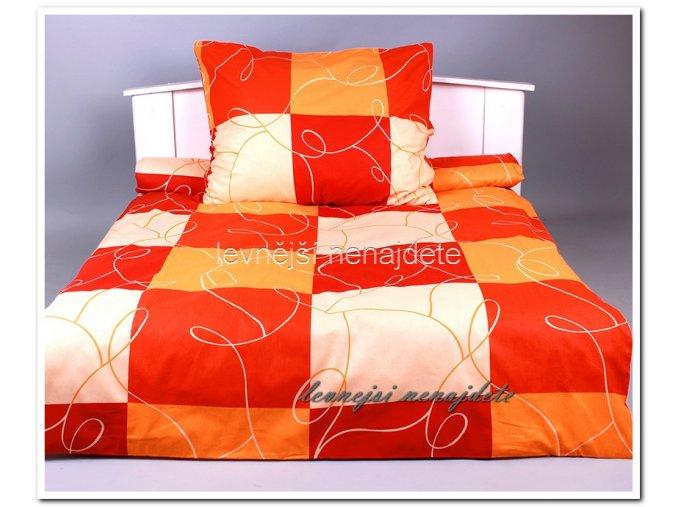 Krepové povlečení  - Šachy oranžové 140 x 200 70 x 90