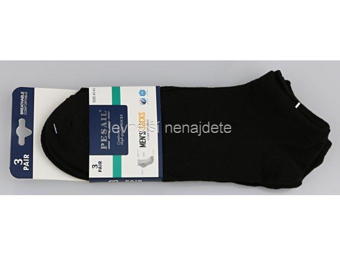 Pánské kotníkové bavlněné ponožky černé 3 páry