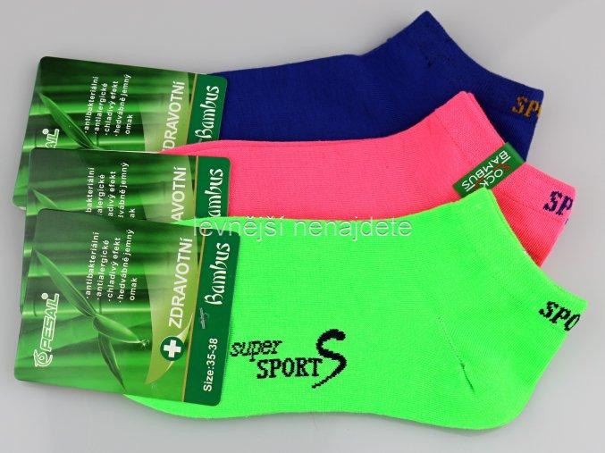 Dámské bambusové zdravotní kotníkové ponožky bar 3 páry