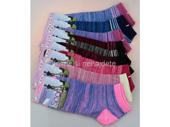 Dámské bavlněné kotníkové ponožky melír 3 páry