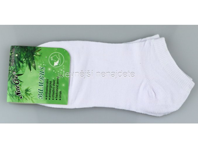 Dámské bambusové kotníkové ponožky bílé
