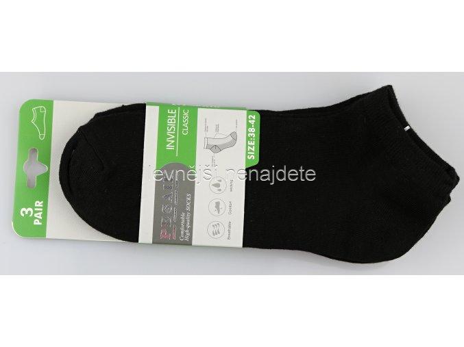 Dámské kotníkové bavlněné ponožky černé 3 páry