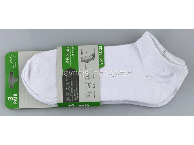 Pánské kotníkové bavlněné ponožky bílé 3 páry